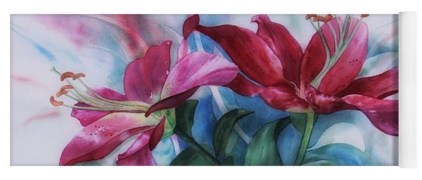 Wine Lillies In Pastel Watercolour Yoga Mat