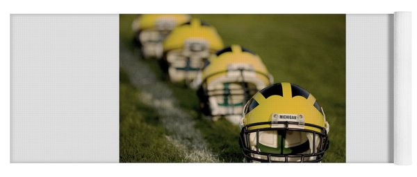 Yoga Mat featuring the photograph Winged Helmets On Yard Line by Michigan Helmet