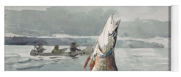 Yoga Mat featuring the painting Winslow Homer   Pike  Lake St  John 189 7 by Artistic Panda