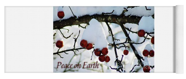 Winter Apples Peace On Earth Yoga Mat