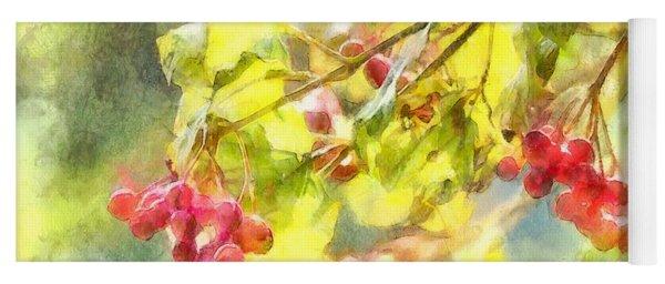 Winter Berries Watercolor  Yoga Mat