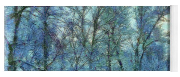Winter Blue Forest Yoga Mat