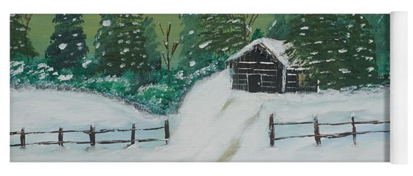 Yoga Mat featuring the painting Winter Cabin by Jimmy Clark