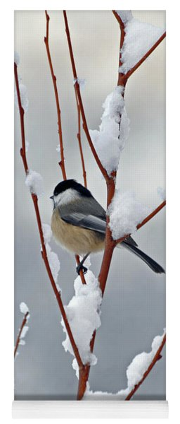 Winter Chickadee Christmas Greetings Yoga Mat