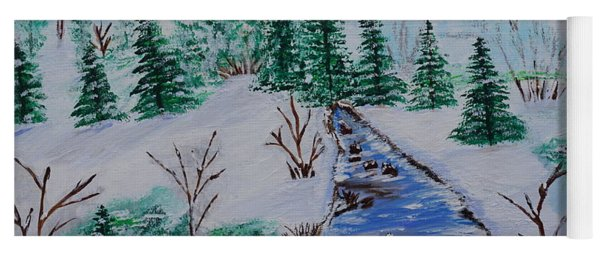 Yoga Mat featuring the painting Winter Calmness by Jimmy Clark