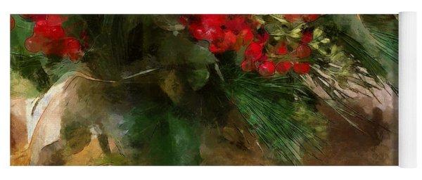 Winter Flowers In Glass Vase Yoga Mat