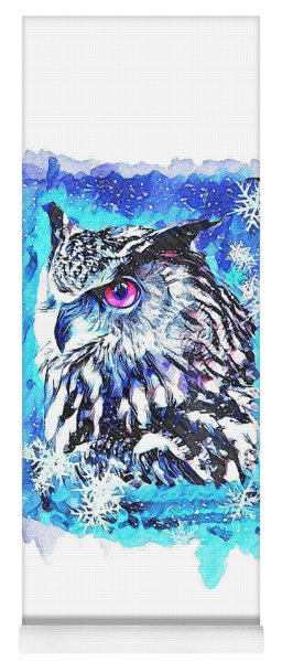 Cute Screech Owl Winter Artwork Yoga Mat