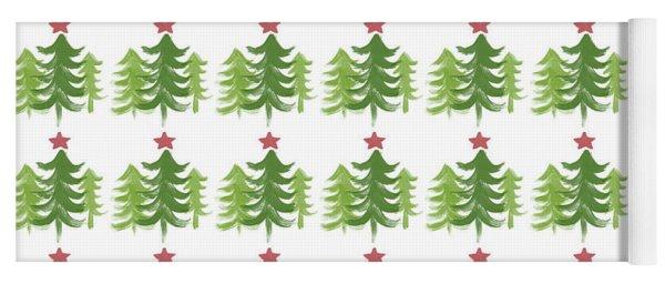 Winter Holiday Trees 1-  Art By Linda Woods Yoga Mat