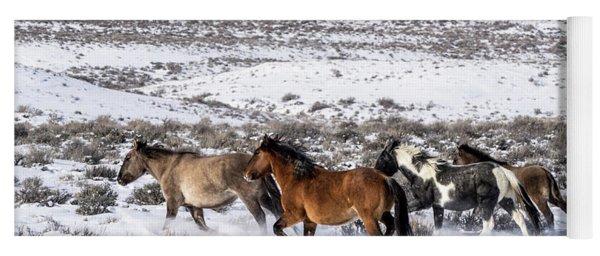 Winter In Sand Wash Basin - Wild Mustangs On The Run Yoga Mat