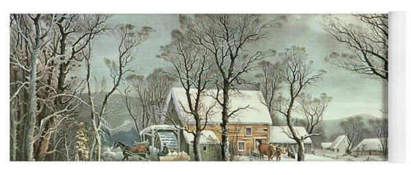 Winter In The Country - The Old Grist Mill Yoga Mat