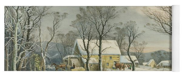 Winter In The Country, The Old Grist Mill, 1864  Yoga Mat