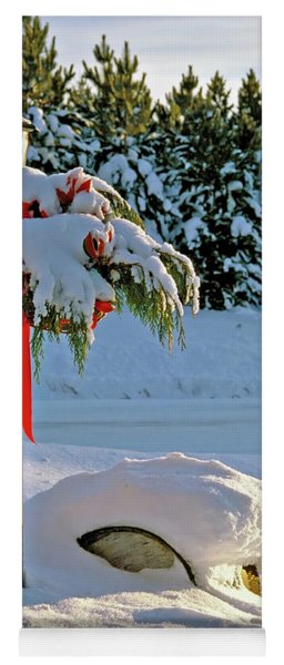 Winter Lamp Post In The Snow With Christmas Bough Yoga Mat