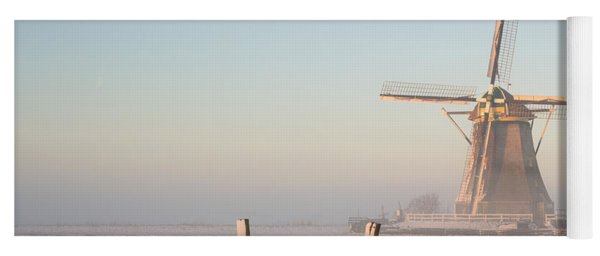 Winter Landscape In The Netherlands With A Windmill At Sunrise Yoga Mat
