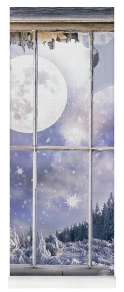 Winter Landscape Through The Window Yoga Mat