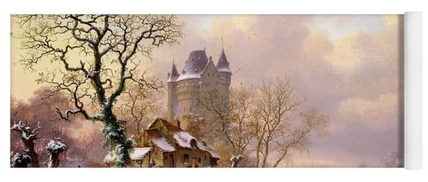 Winter Landscape With Castle Yoga Mat