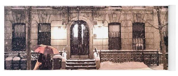 Winter - New York City - Snow Falling Yoga Mat
