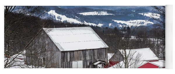 Winter On The Farm On The Hill Yoga Mat