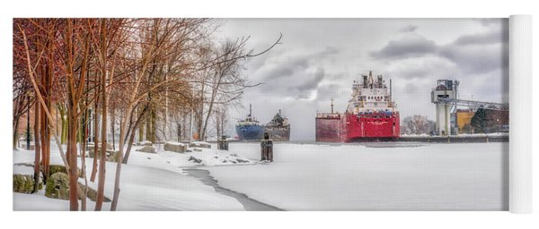Winter Owen Sound Harbour Yoga Mat