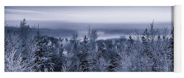 Winter Scenery Of The Lake Hiidenvesi Bw Yoga Mat