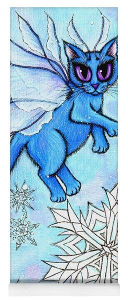 Winter Snowflake Fairy Cat Yoga Mat