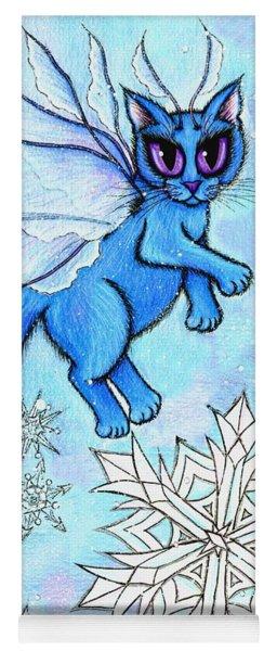 Winter Snowflake Fairy Cat Yoga Mat