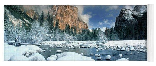 Winter Storm In Yosemite National Park Yoga Mat