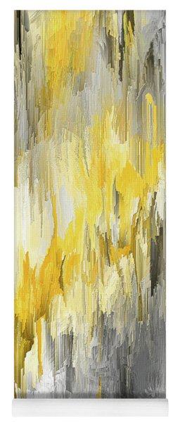 Winter Sun - Yellow And Gray Contemporary Art Yoga Mat