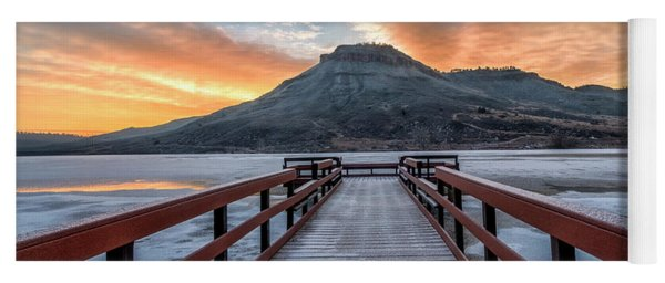 Winter Sunrise At Flatiron Reservoir Located In Loveland, Colora Yoga Mat