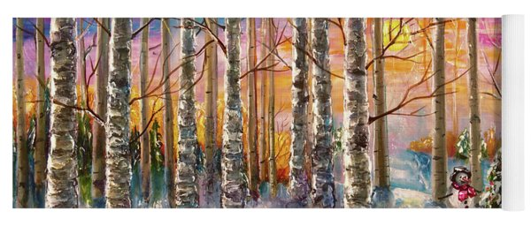 Dylan's Snowman - Winter Sunset Landscape Impressionistic Painting With Palette Knife Yoga Mat