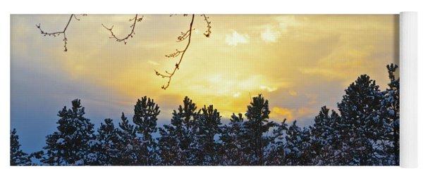 Winter Sunset On The Tree Farm #1 Yoga Mat