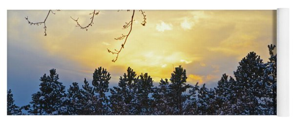 Winter Sunset On The Tree Farm #1 Yoga Mat