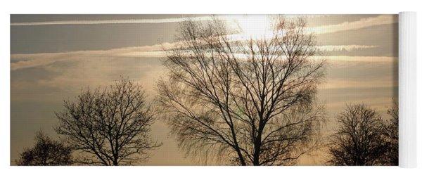 Winter Sunset Through Trees On Epsom Downs Surrey Uk Yoga Mat