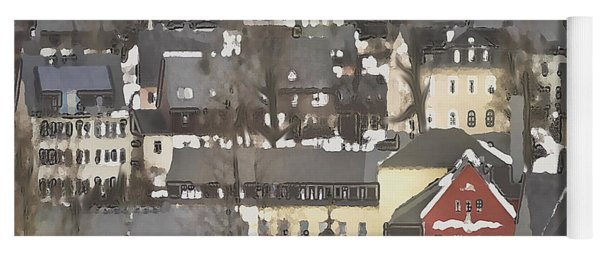 Winter Village With Red House Yoga Mat