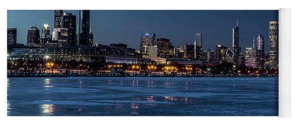 Wintry Chicago Skyline At Dusk  Yoga Mat