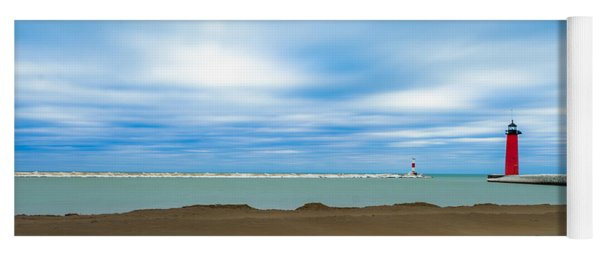 Yoga Mat featuring the photograph Wisconsin Winter Lakefront by Steven Santamour