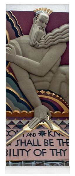 Yoga Mat featuring the photograph Wisdom Lords Over Rockefeller Center by Lorraine Devon Wilke