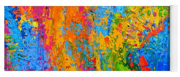 Within Circles 2 - Colorful Modern Abstract  Painting Palette Knife Work Yoga Mat