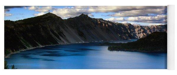 Wizard Island Stormy Sky- Crater Lake Yoga Mat
