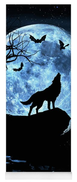 Wolf Howling At Full Moon With Bats Yoga Mat