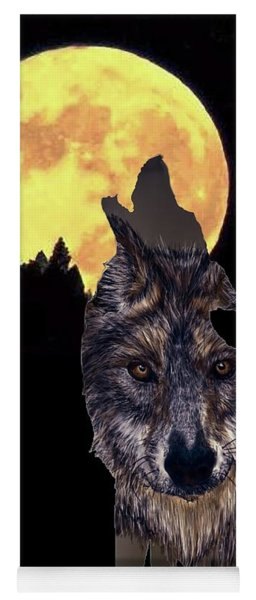 Wolf Howling At The Moon Yoga Mat