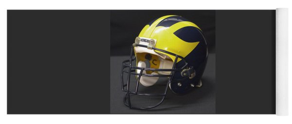 Yoga Mat featuring the photograph Wolverine Helmet From The 1990s by Michigan Helmet