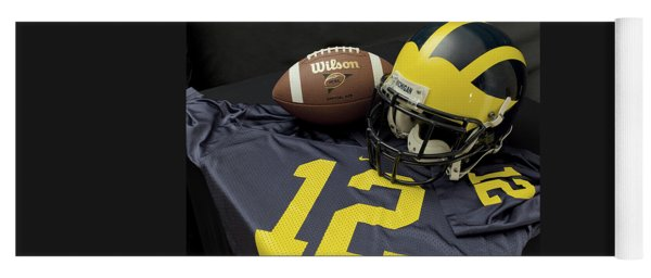 Wolverine Helmet With Football And Jersey Yoga Mat
