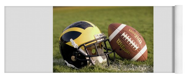 Wolverine Helmet With Football On The Field Yoga Mat