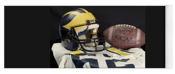 Wolverine Helmet With Jersey And Football Yoga Mat