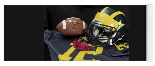 Wolverine Helmet With Roses, Jersey, And Football Yoga Mat