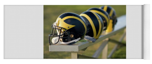 Wolverine Helmets On A Bench Yoga Mat