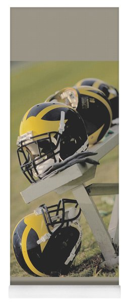 Wolverine Helmets On A Football Bench Yoga Mat