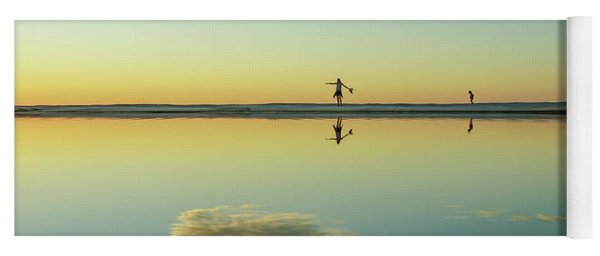 Woman And Cloud Reflected On Beach Lagoon At Sunset Yoga Mat