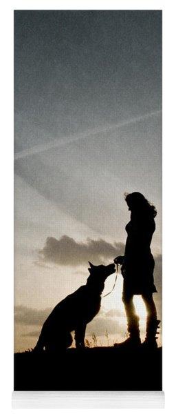Woman And Dog  Yoga Mat