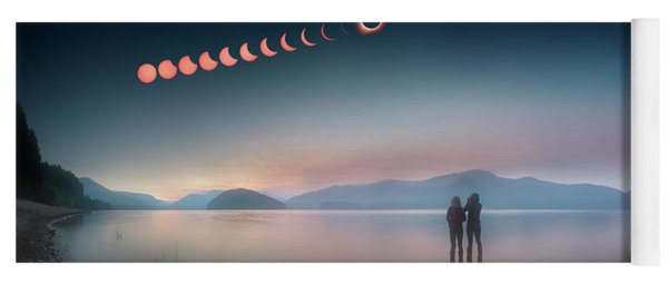 Woman And Girl Standing In Lake Watching Solar Eclipse Yoga Mat